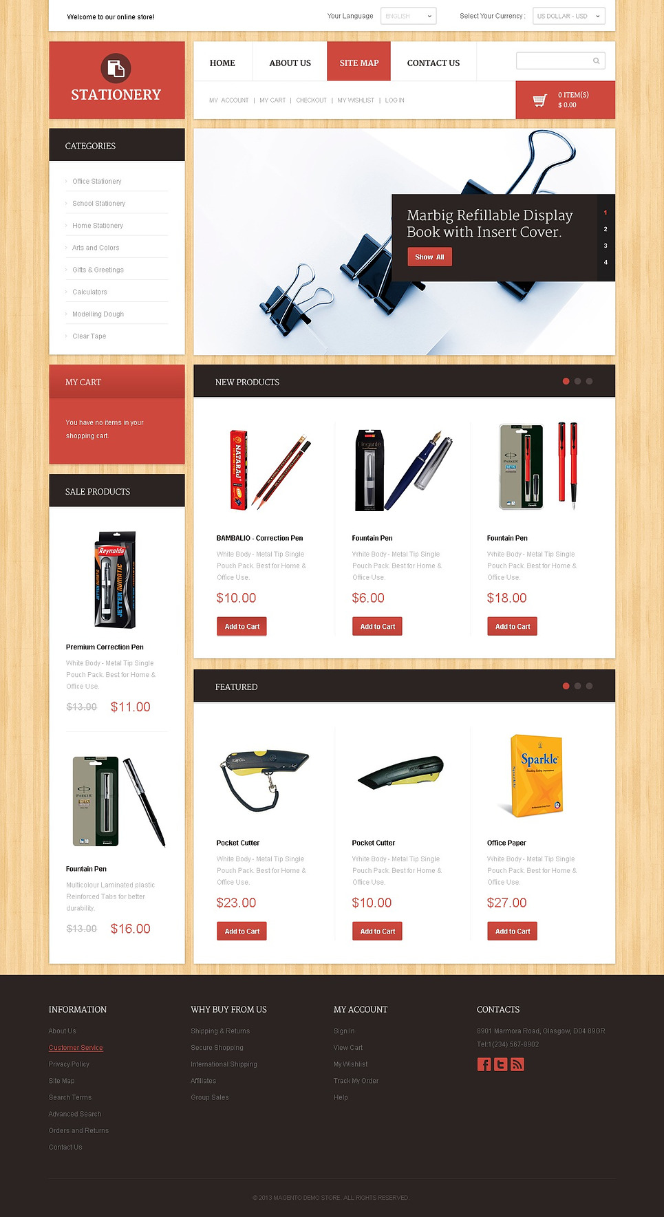 The Professional Stationary Store Magento Theme