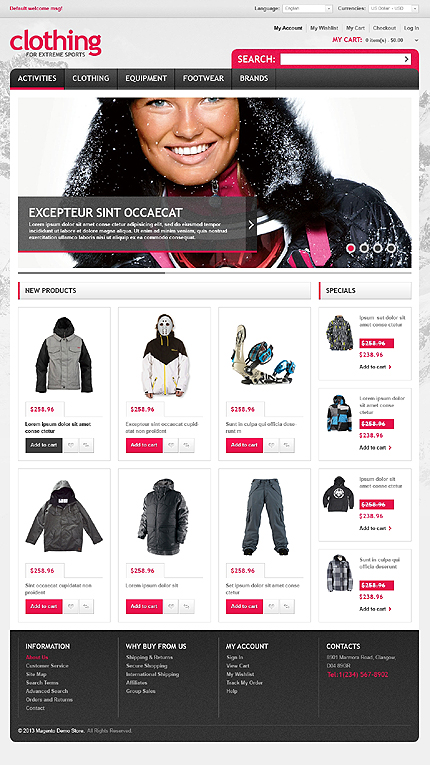 View live Demo for Clothing - Responsive Magento Fashion Theme