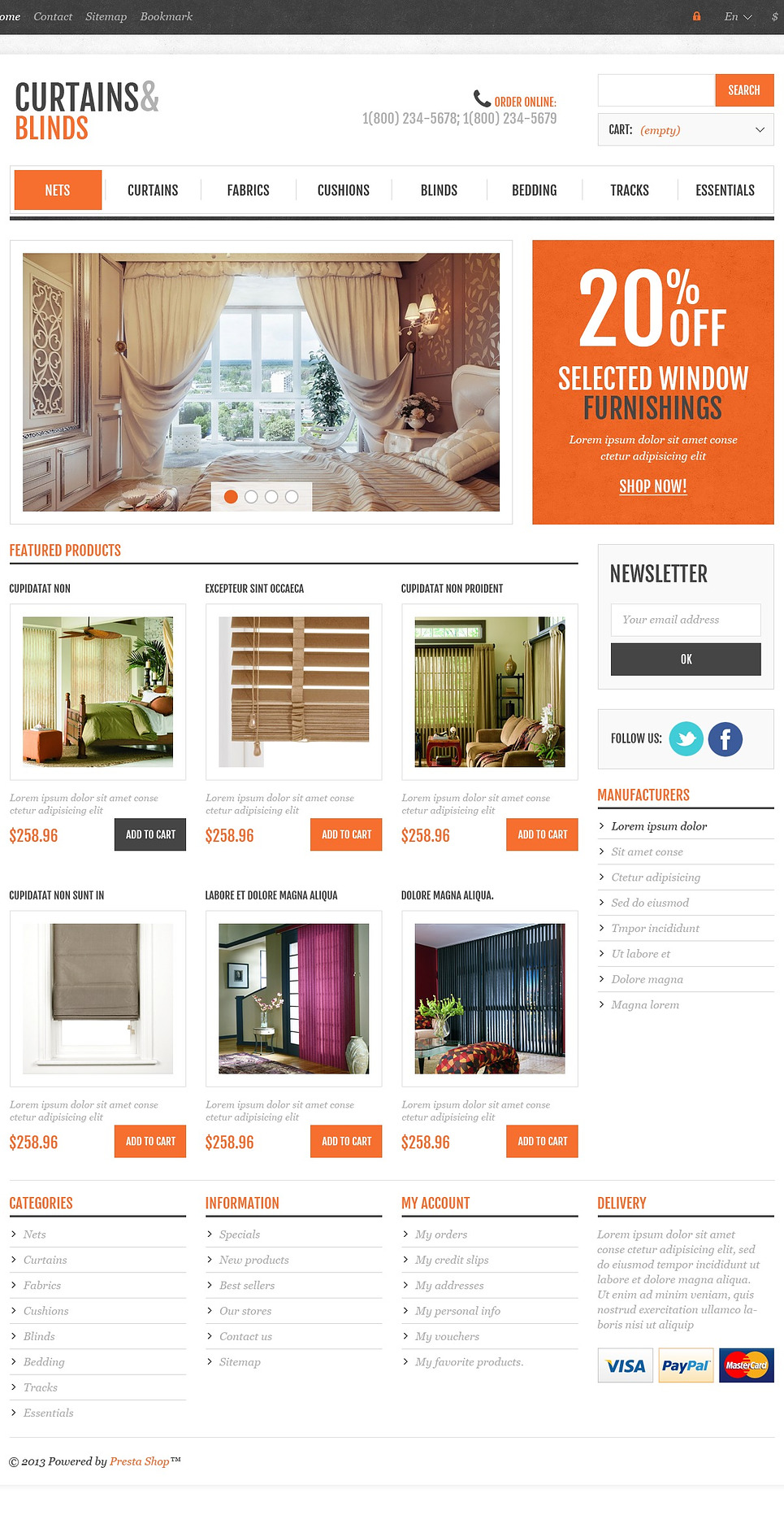 Perfect Responsive Curtains & Blinds Store PrestaShop Theme