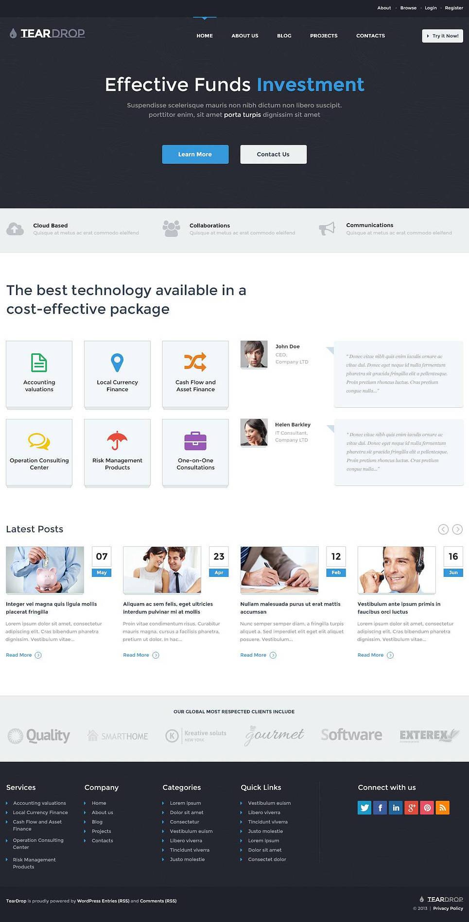 Clean Investment Company WordPress Theme New Screenshots BIG
