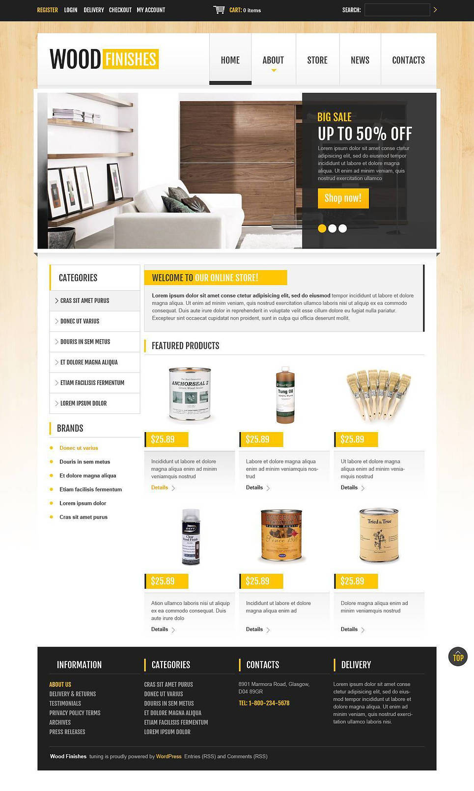 Excellent Responsive Wood Finishes Store JigoShop Theme