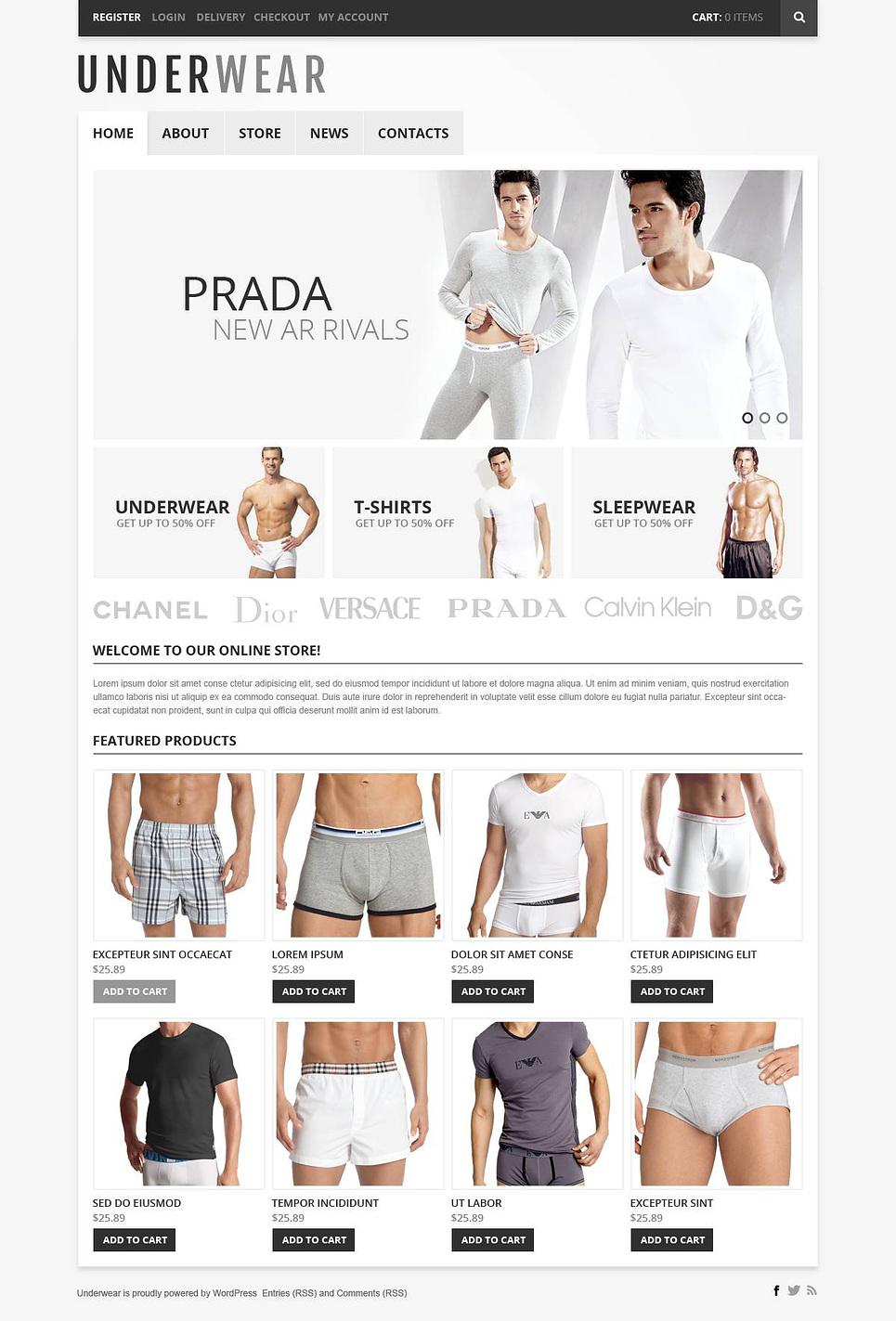 Underwear - Modern Responsive Underwear Store Jigoshop Theme