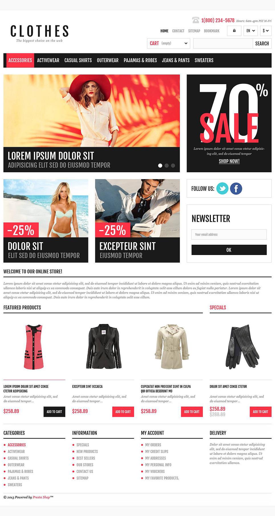 Responsive Clothing Shop Prestashop Theme Web Design Templates Website Templates Download