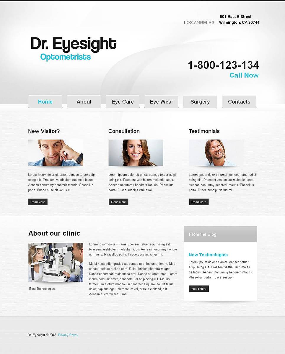 Optometrist Website Template Designed in Gray Colors - image
