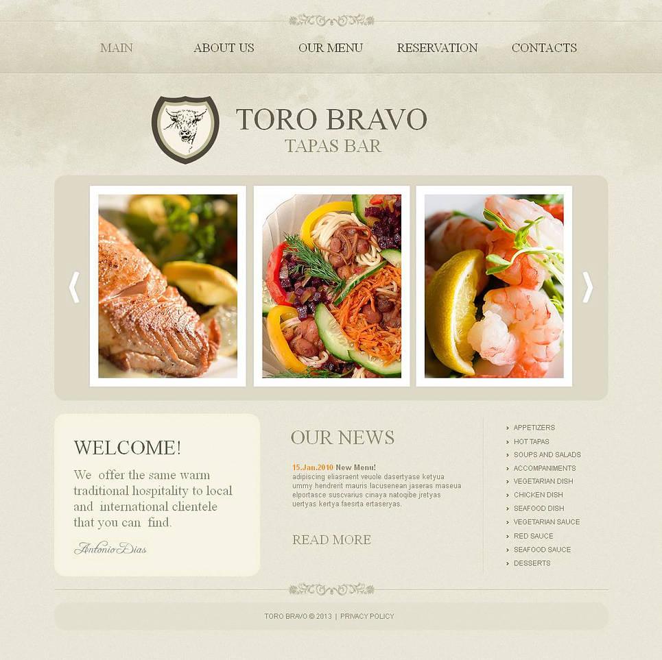 Tapas restaurant moto cms html template web design for Tapas menu template