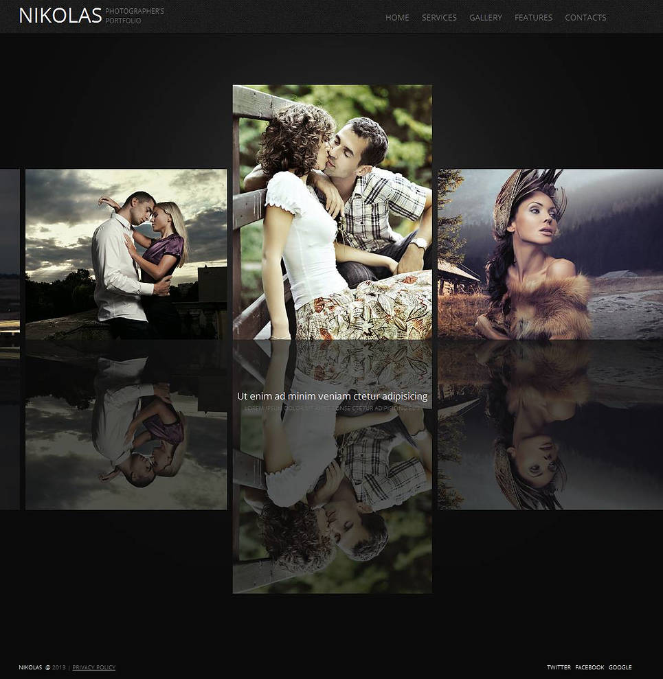 Black Portfolio Website Template with Reflection Gallery - image