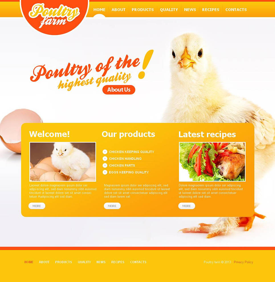 Yellow Website Template with Photo Background for Poultry Farming - image