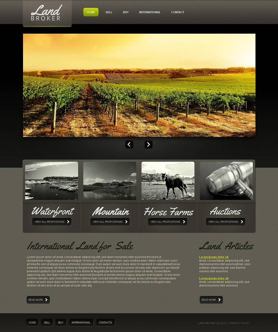 Land Broker Website Template Designed in Dark Colors - image