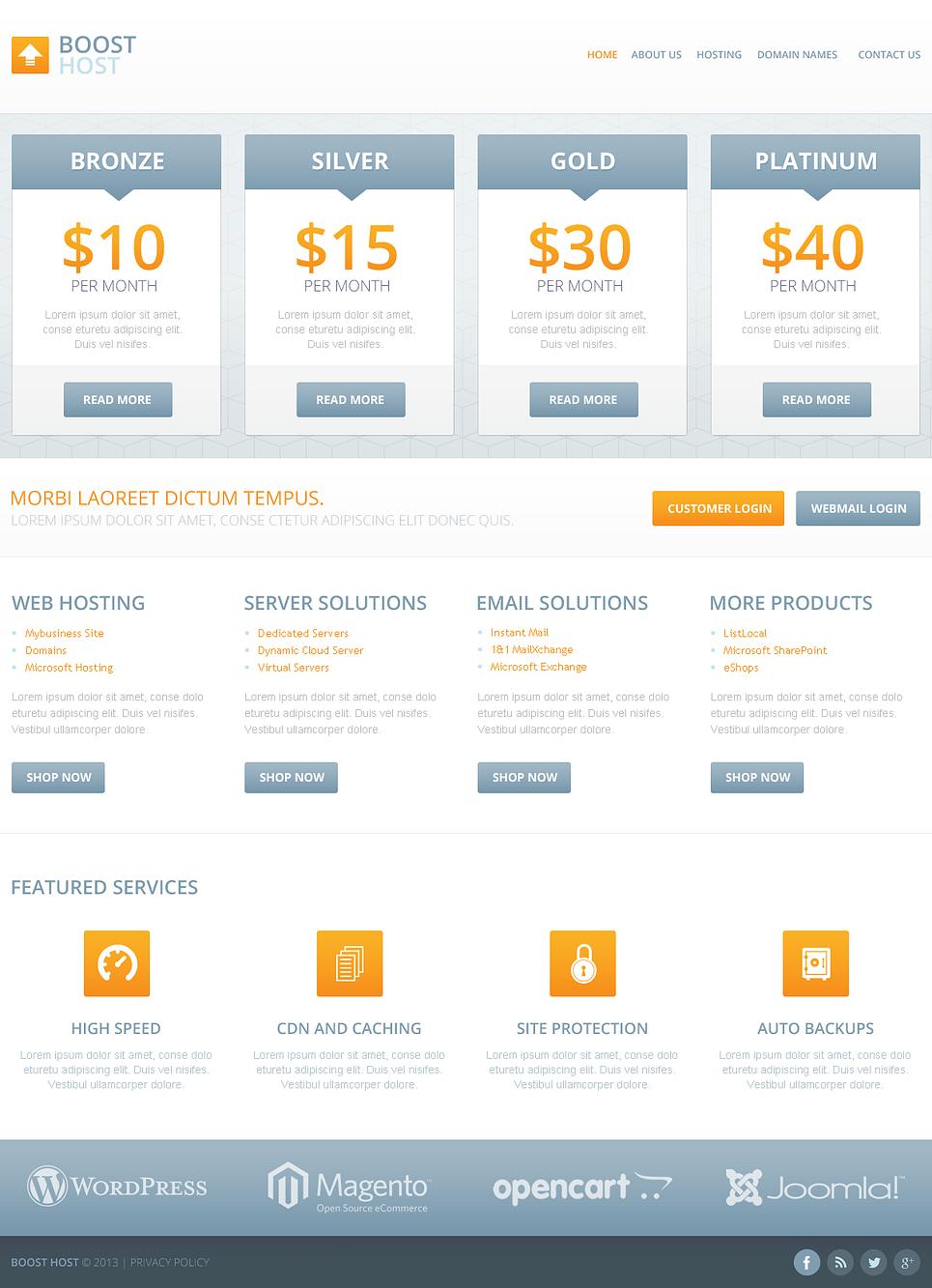 Hosting Plans Website Template Web Design Templates Website Templates Download Hosting Plans