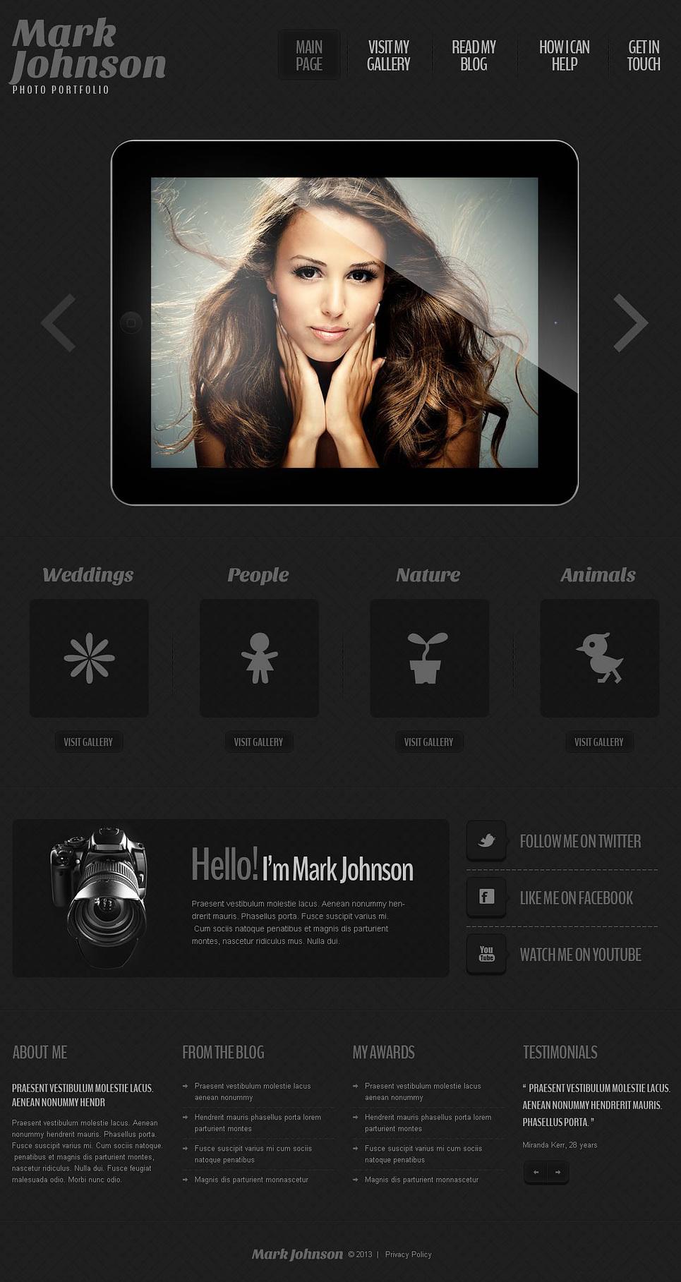 photographer portfolio responsive wordpress theme 45143. Black Bedroom Furniture Sets. Home Design Ideas