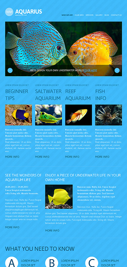 Aquarius - Best Responsive WordPress Aquarium Theme