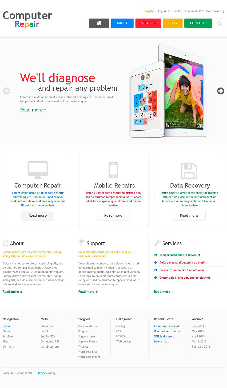 Computer Repair Company Wordpress Theme 45175