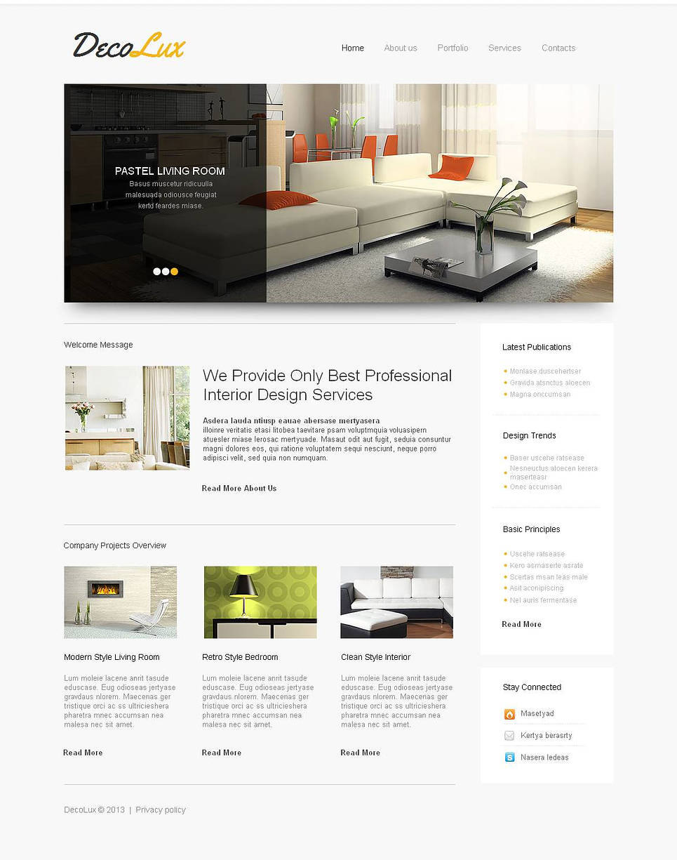 White Interior Design Website Template with Content Slider - image