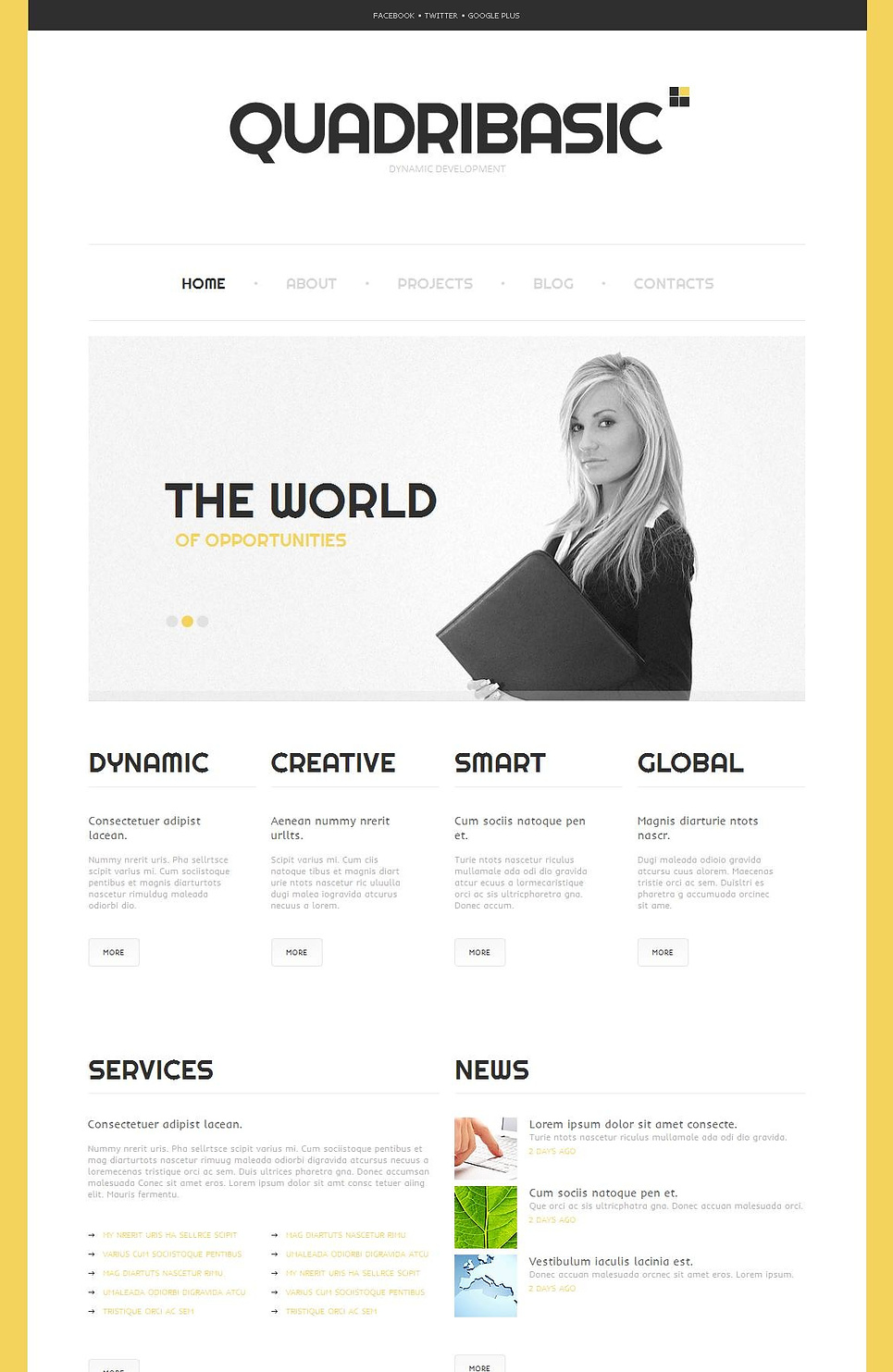 Business Website Template with Yellow Background - image