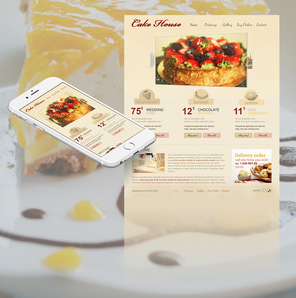Cream-Colored Dessert Bakery Website Template with Carousel Gallery - image