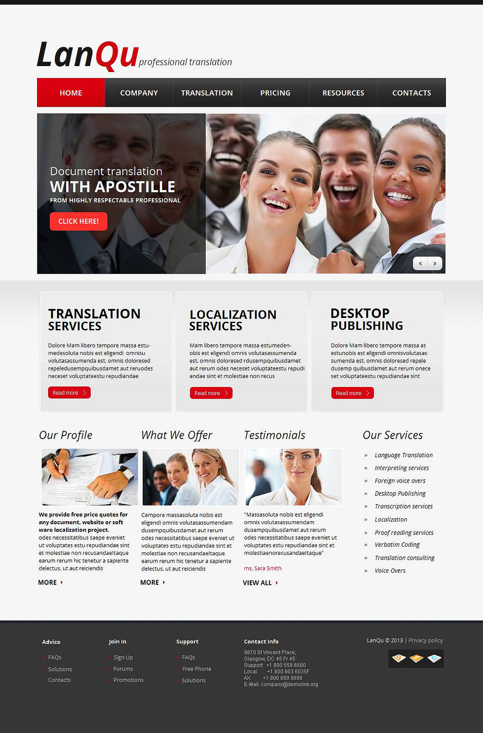 Translation Services Website Template with Large Footer - image