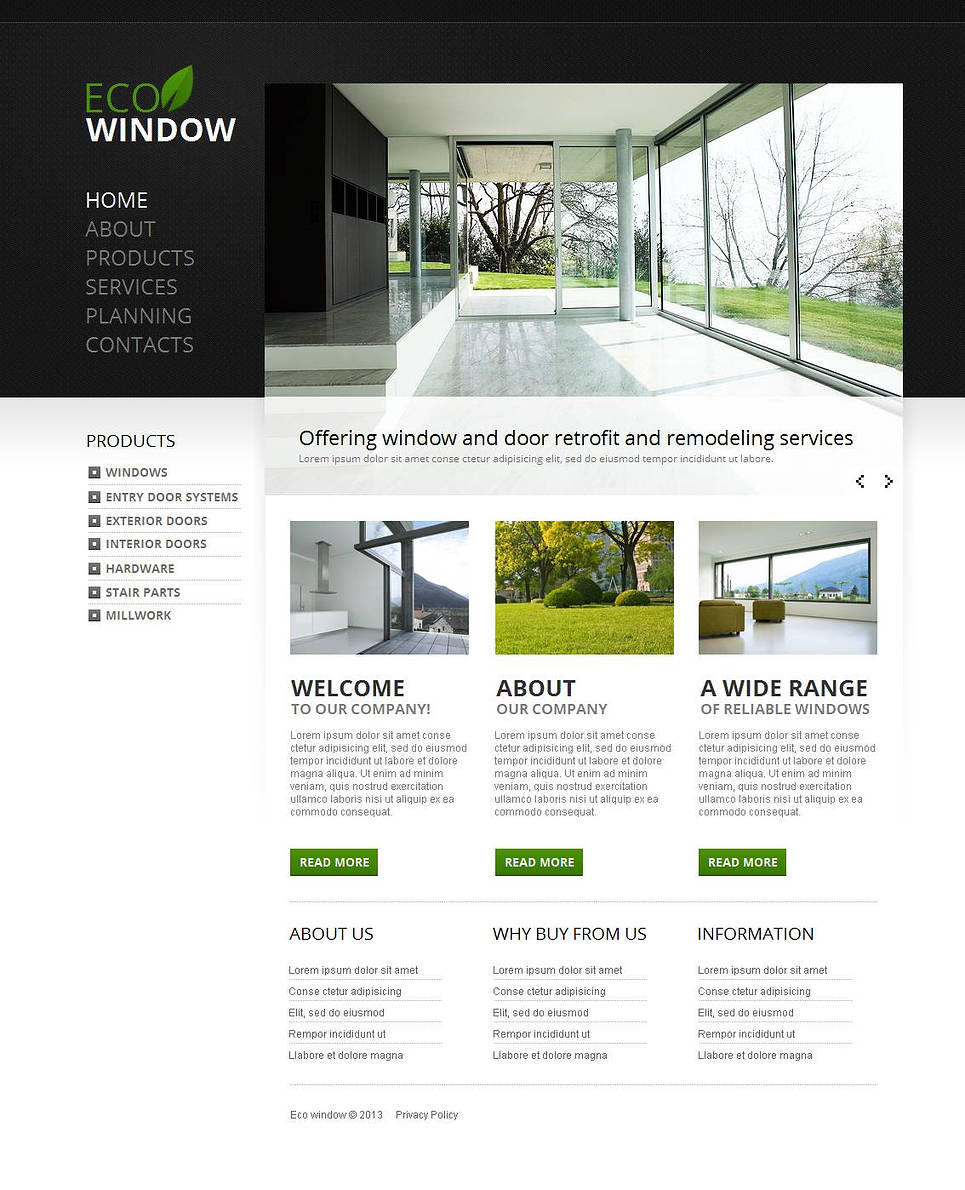 Window Manufacturer Website Template with Vertical Navigation - image