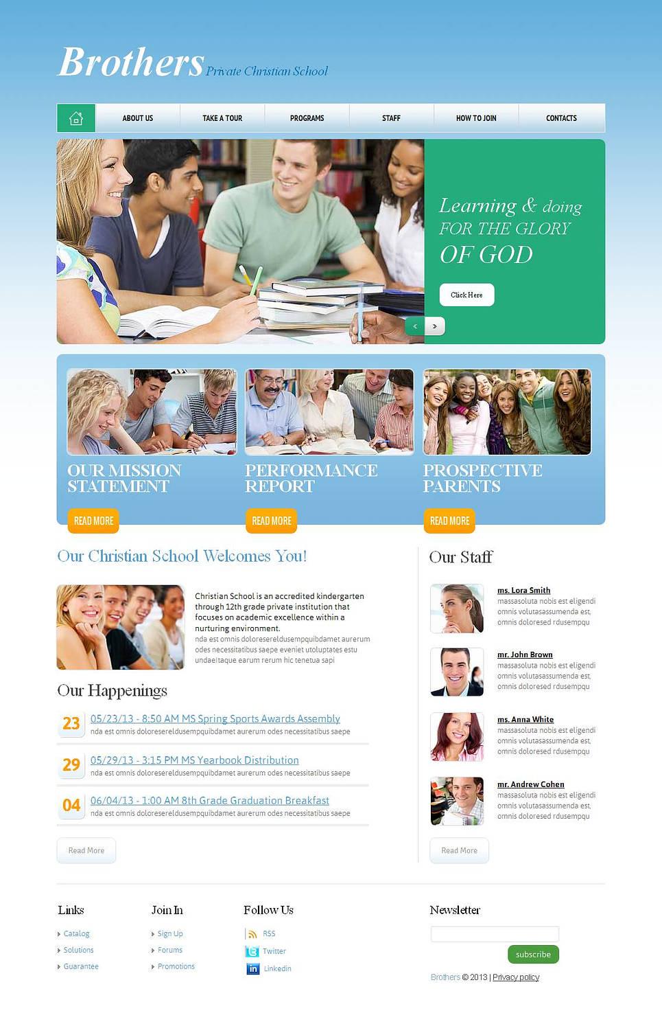 Light Blue Website Template for Christian Schools - image