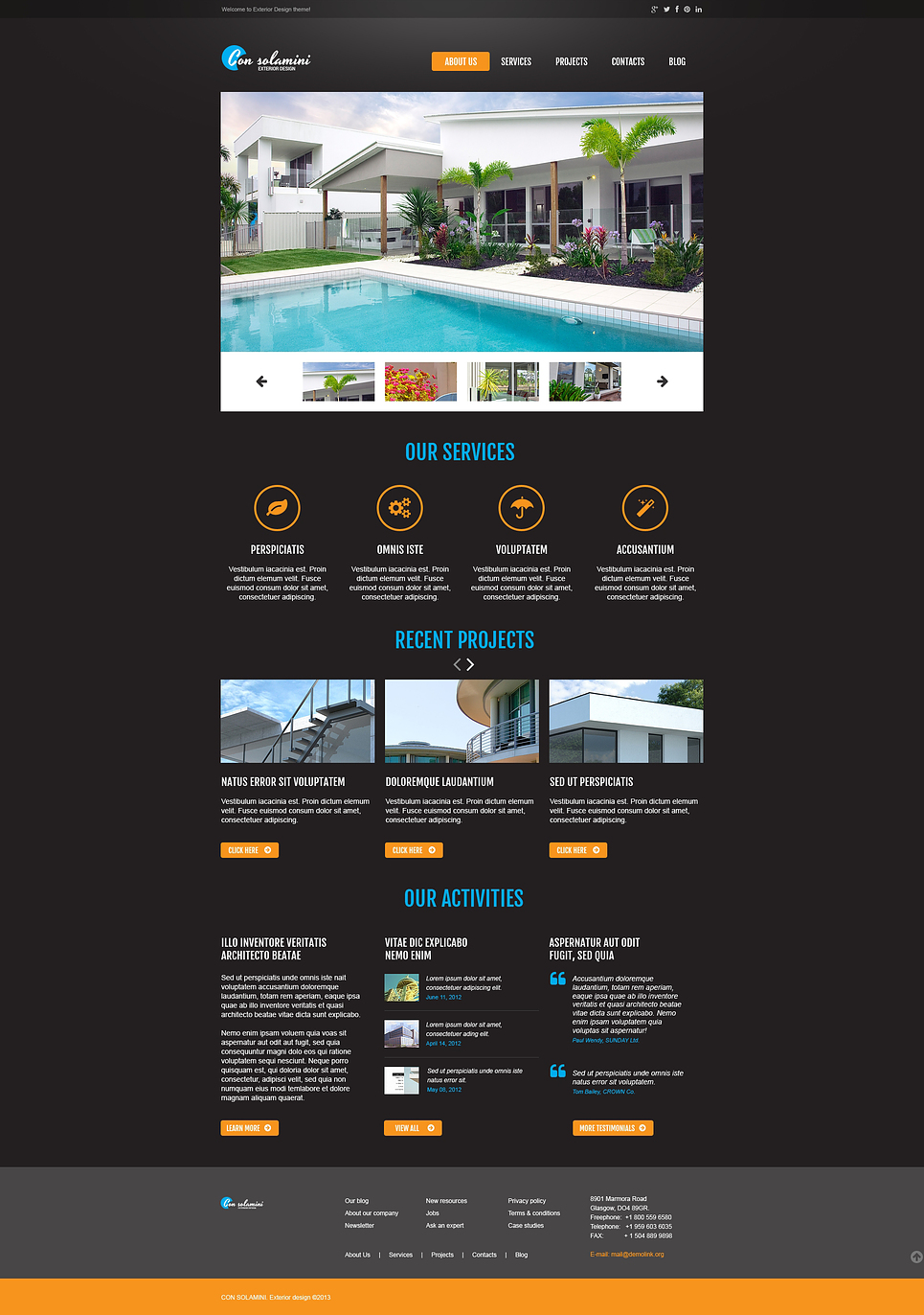 Exterior design responsive website template web design for Exterior design website templates