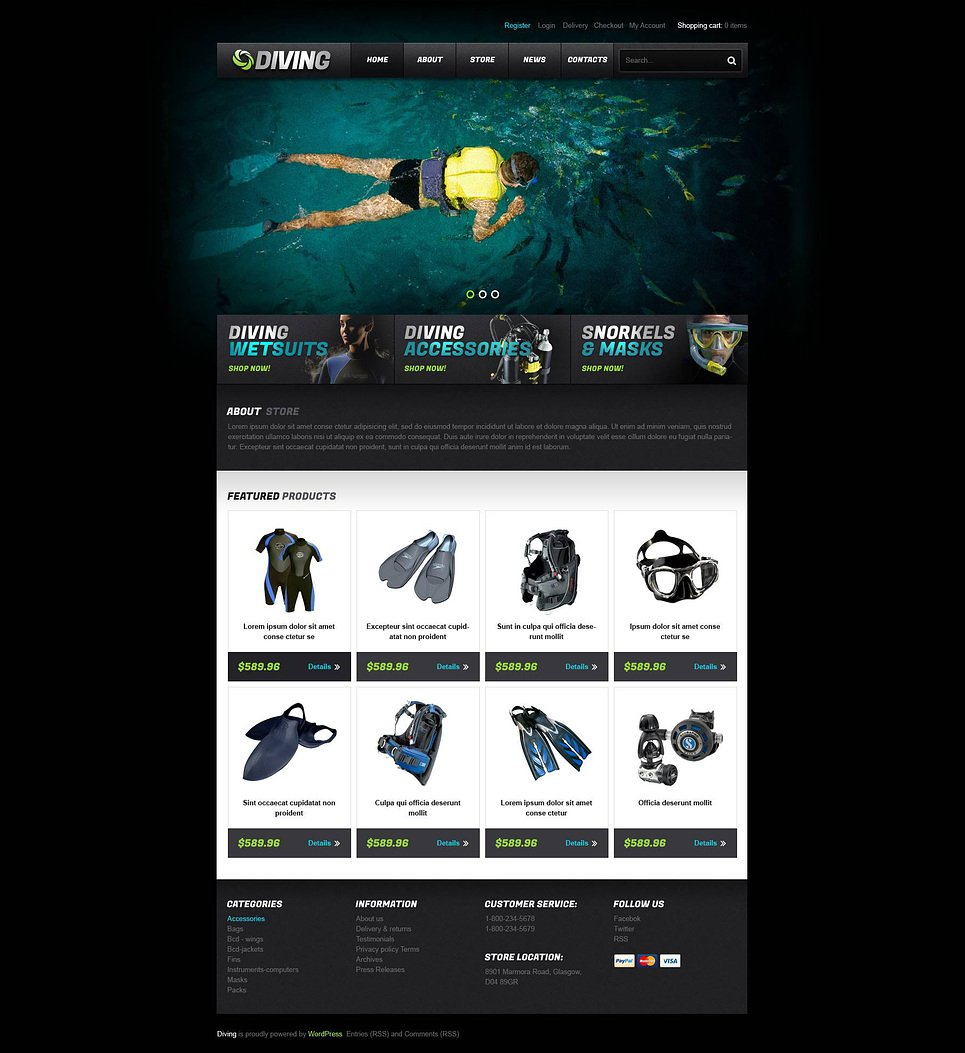 Awesome Diving Store JigoShop Theme
