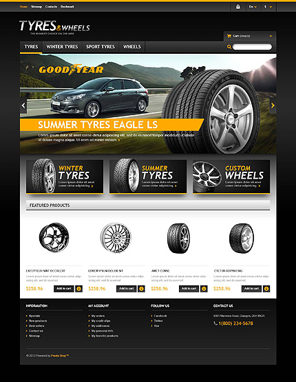 Tyres and Wheels Store - Responsive Bootstrap Based Prestashop Cars Bike Store Theme