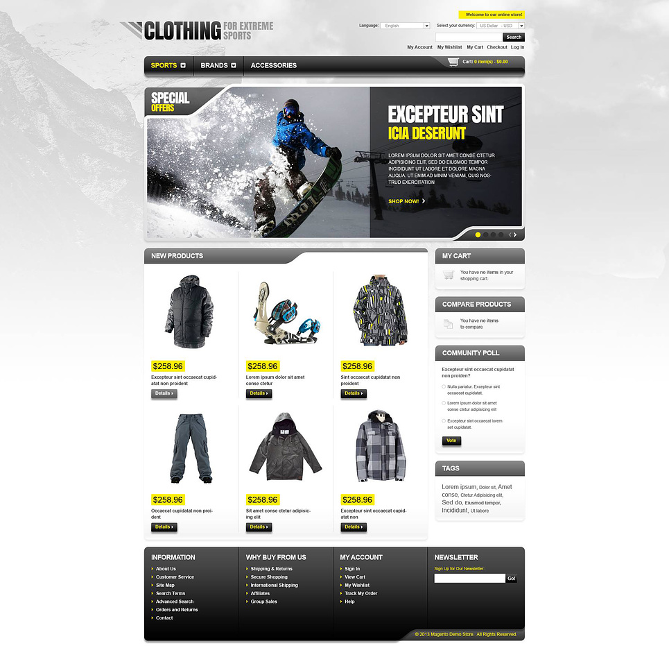 Clothing for Extreme Sports Magento Theme New Screenshots BIG