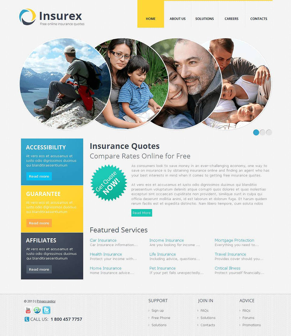 Insurance Web Template with Creative Circular Image Slider - image