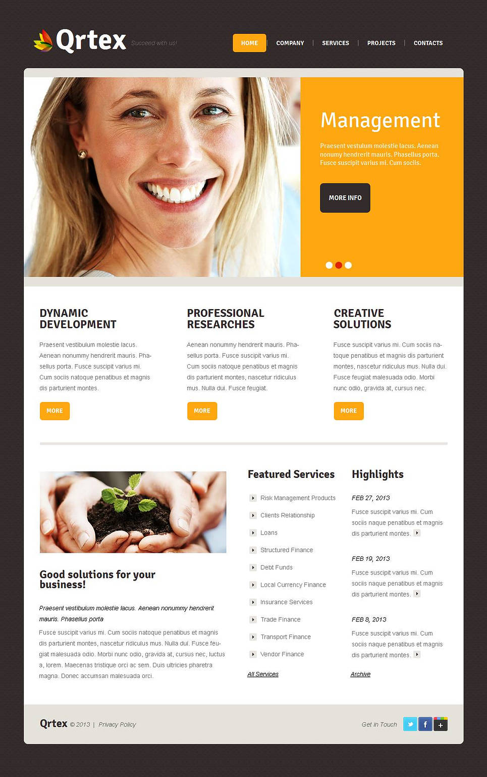 Management Company Website Template with Brown Background - image