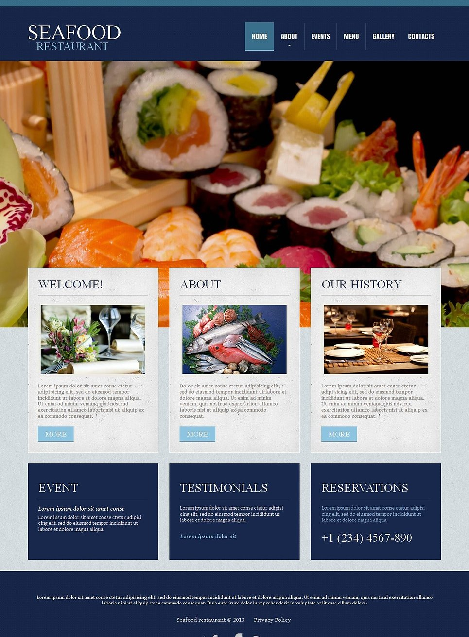 Seafood Restaurant Website Template with Blue Design - image