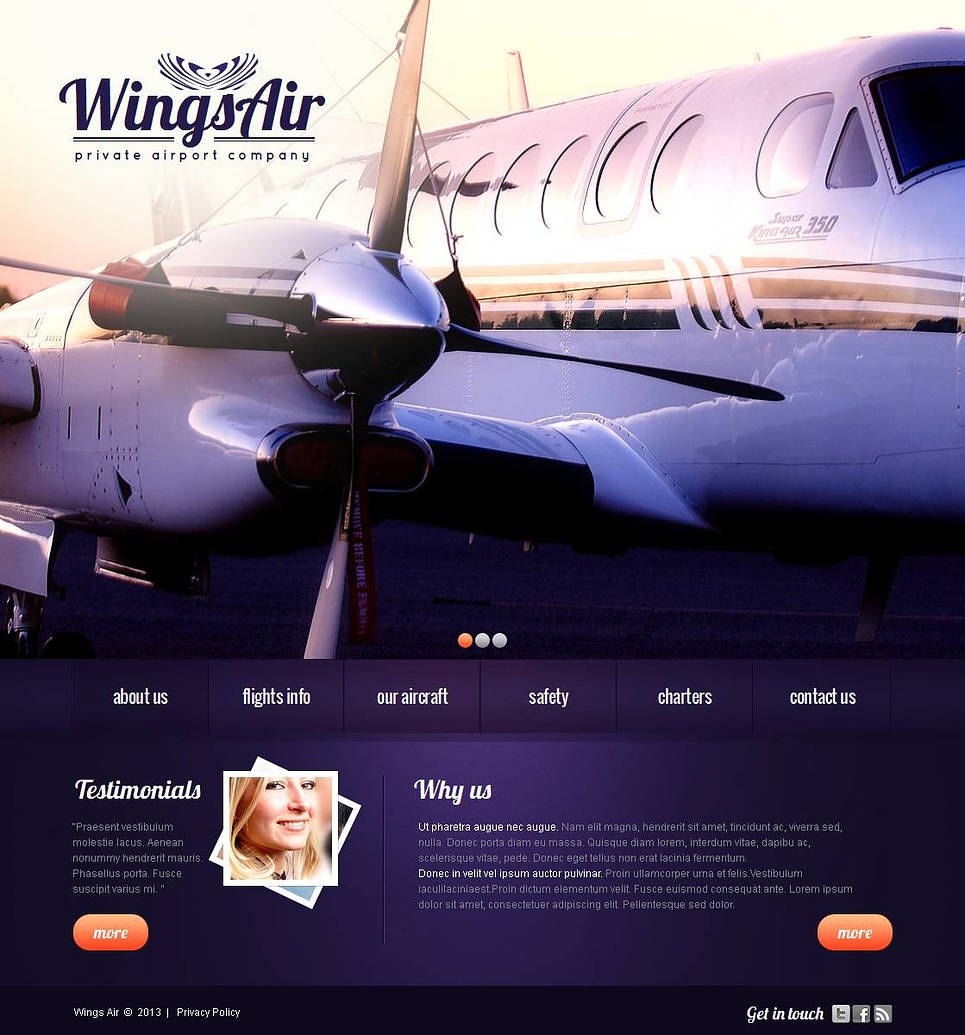Private Airline Company Website Template - image