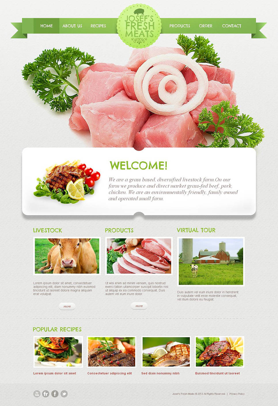 Cattle Farm Website Template with Green Design Elements - image