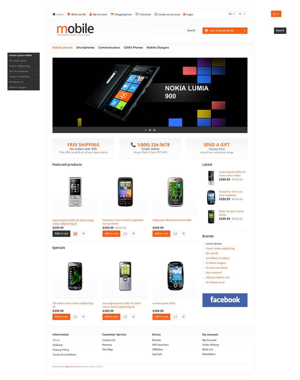 responsive mobile phones store opencart template web design templates website templates. Black Bedroom Furniture Sets. Home Design Ideas
