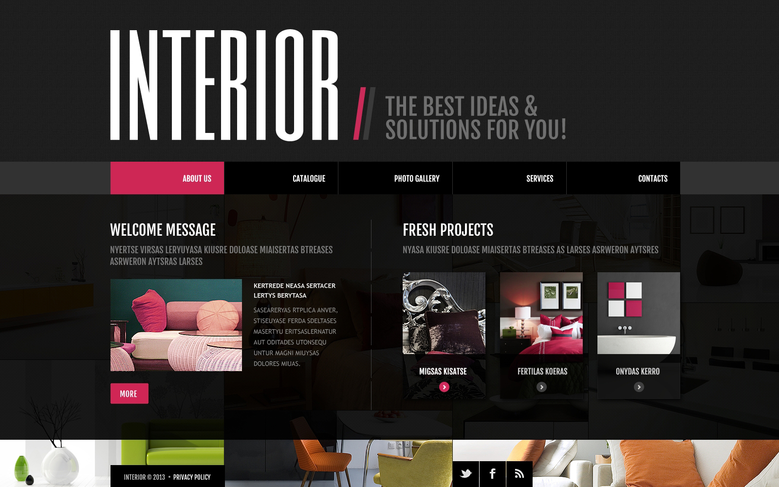 Amazing Template 20909 Interior Design Flash Website ...