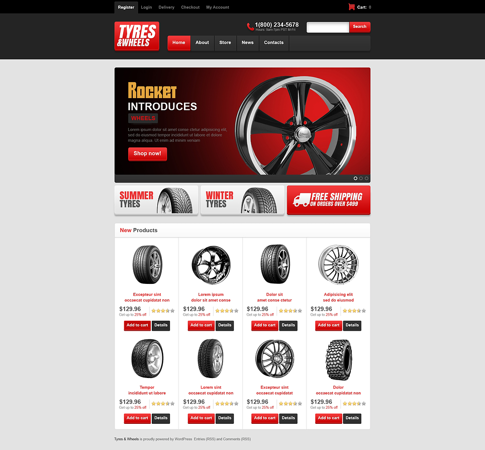 Best Responsive Tyres and wheels Store JigoShop Theme