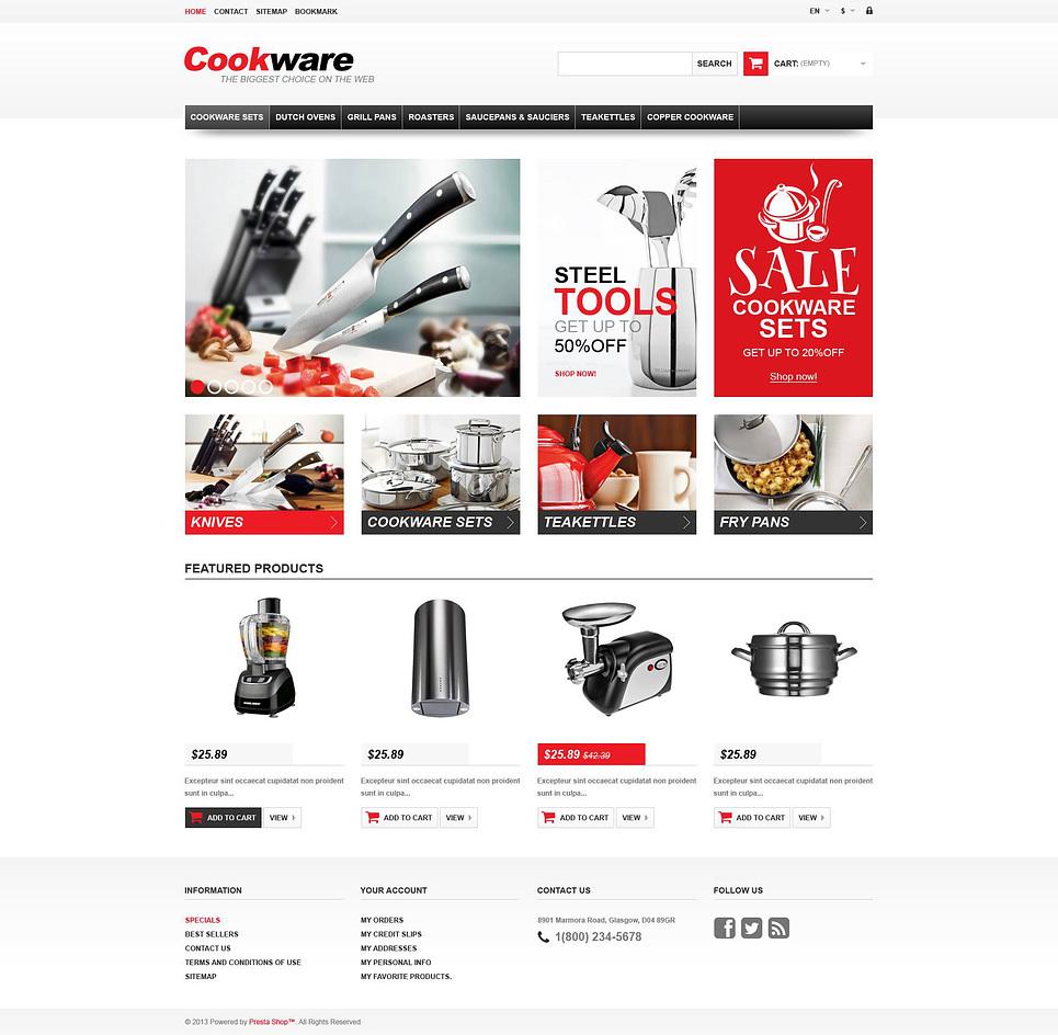 Responsive Cook wear Store PrestaShop Theme