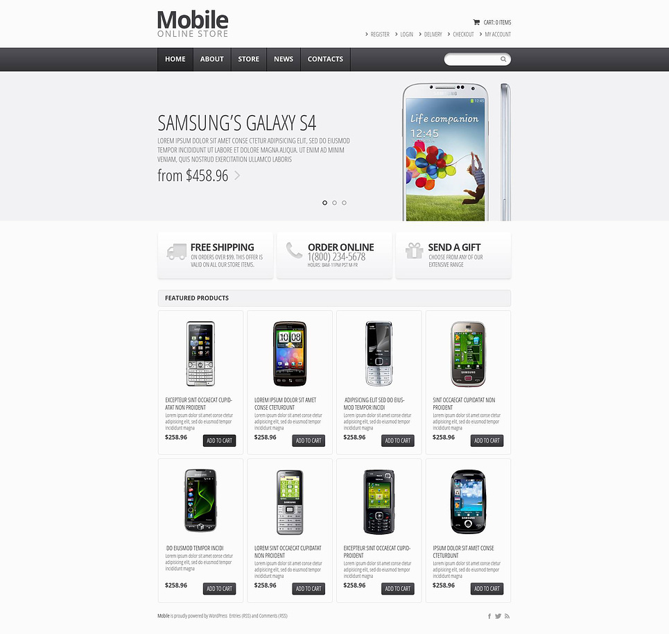 Mobile online store - Excellent Responsive Mobile Store Jigoshop Theme
