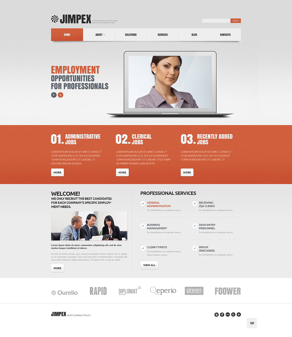 employment recruiting search firm wordpress theme web design templates website templates. Black Bedroom Furniture Sets. Home Design Ideas