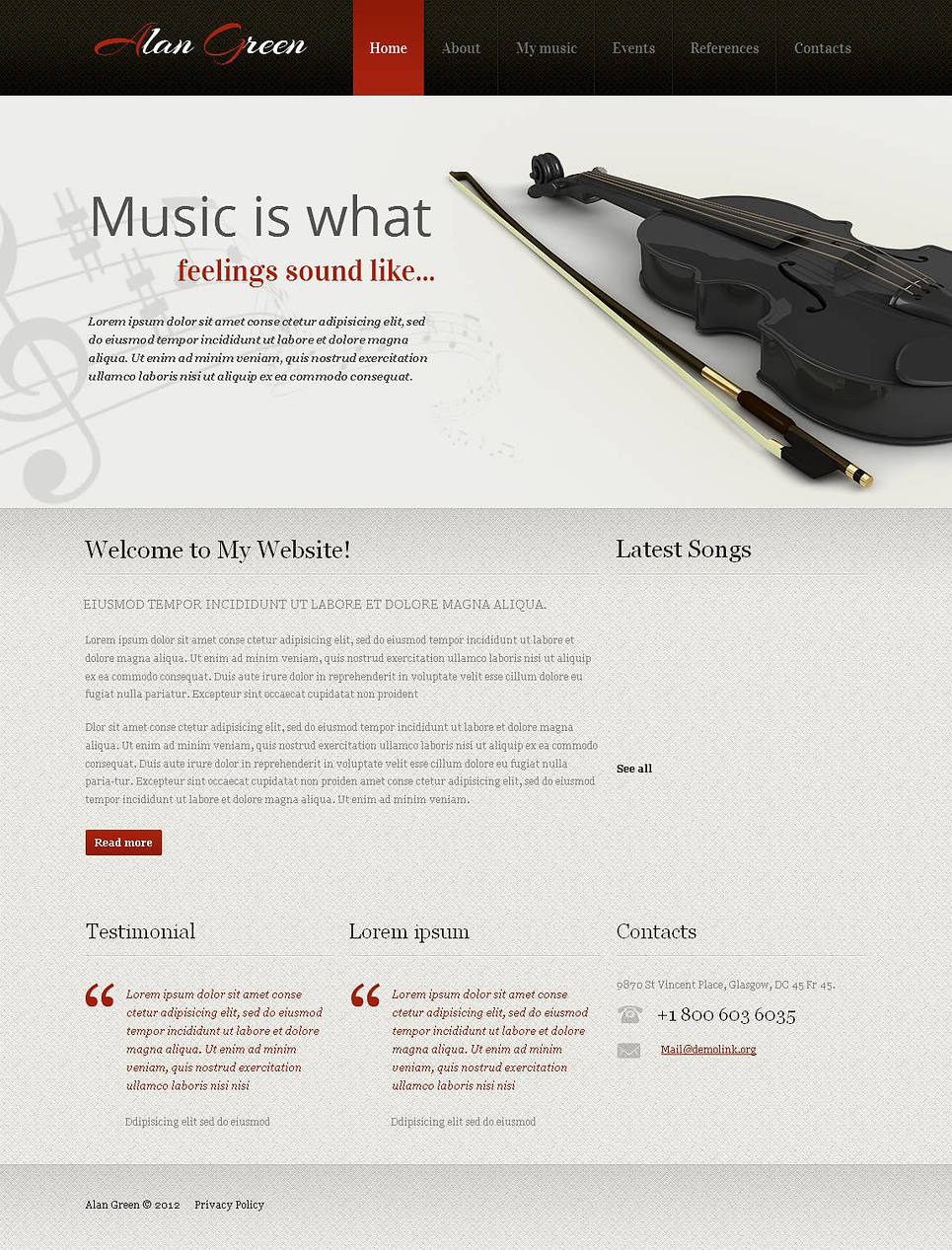 Musician's Personal Page Website Template - image
