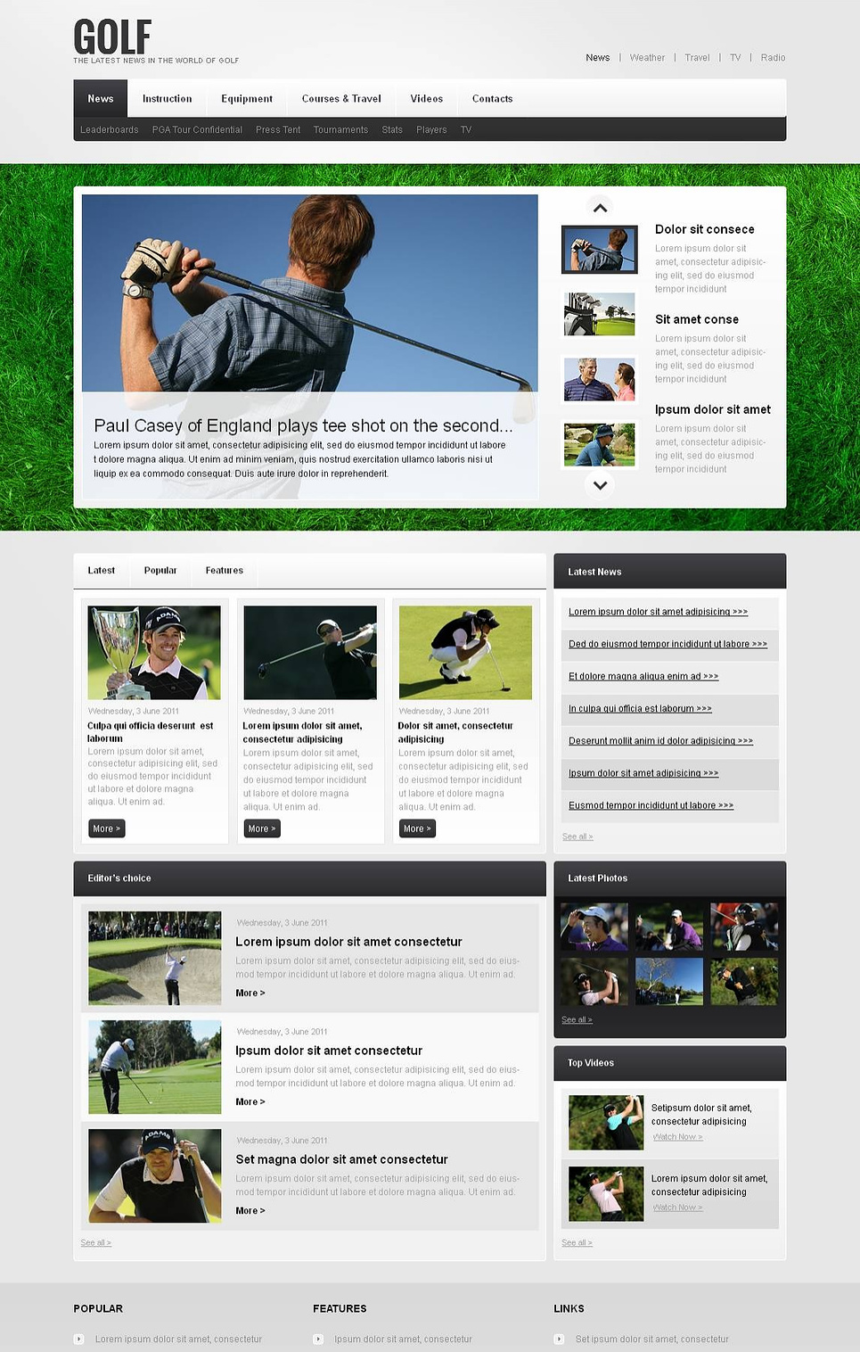 Golf Club Website Template with jQuery Slider - image