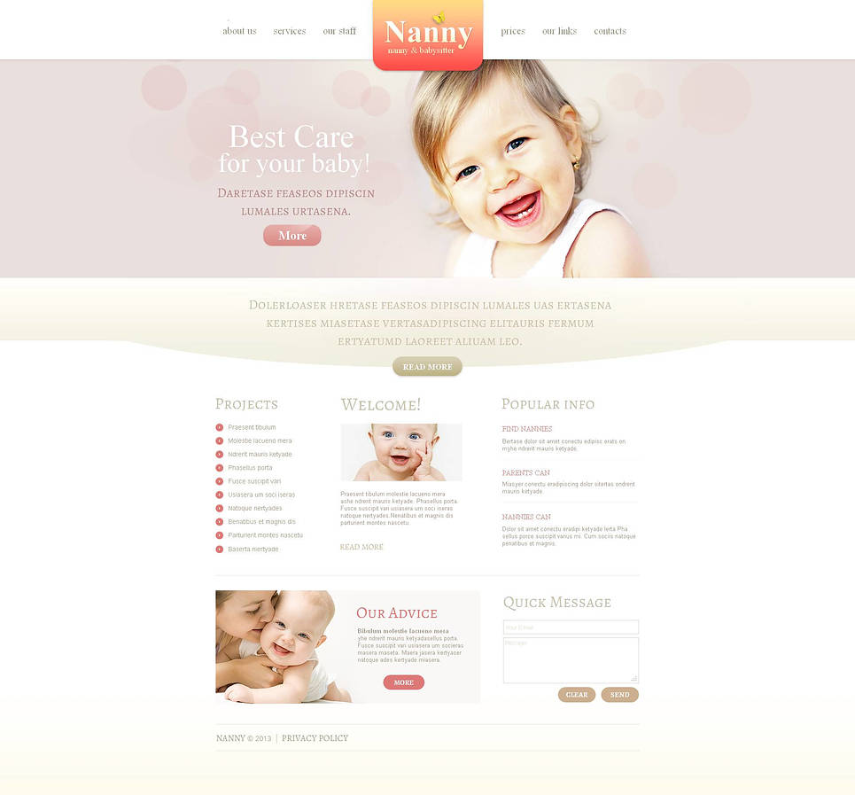 Babysitter Website Template Created in Pastel Tones - image