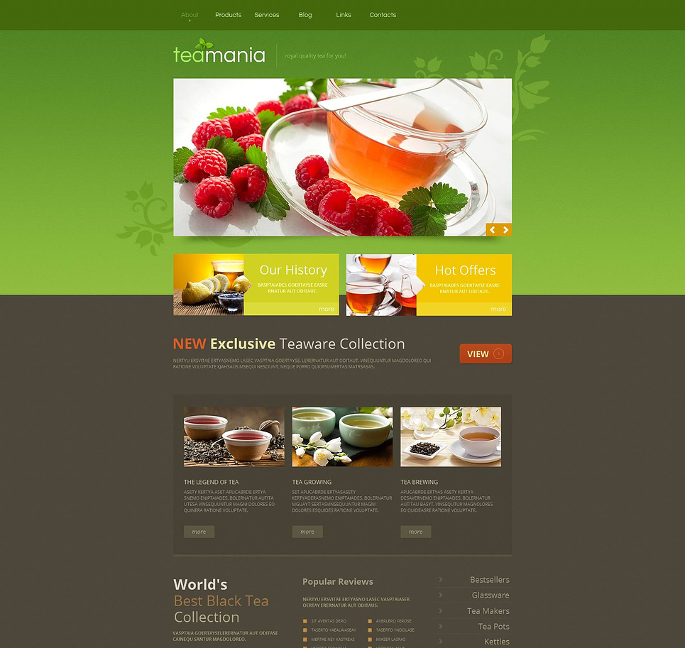 Tea Collection Website Template Designed in Green and Gray Tones - image