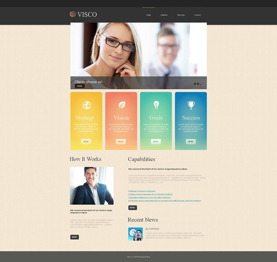 Business Web Template with Cream-Colored Background - image