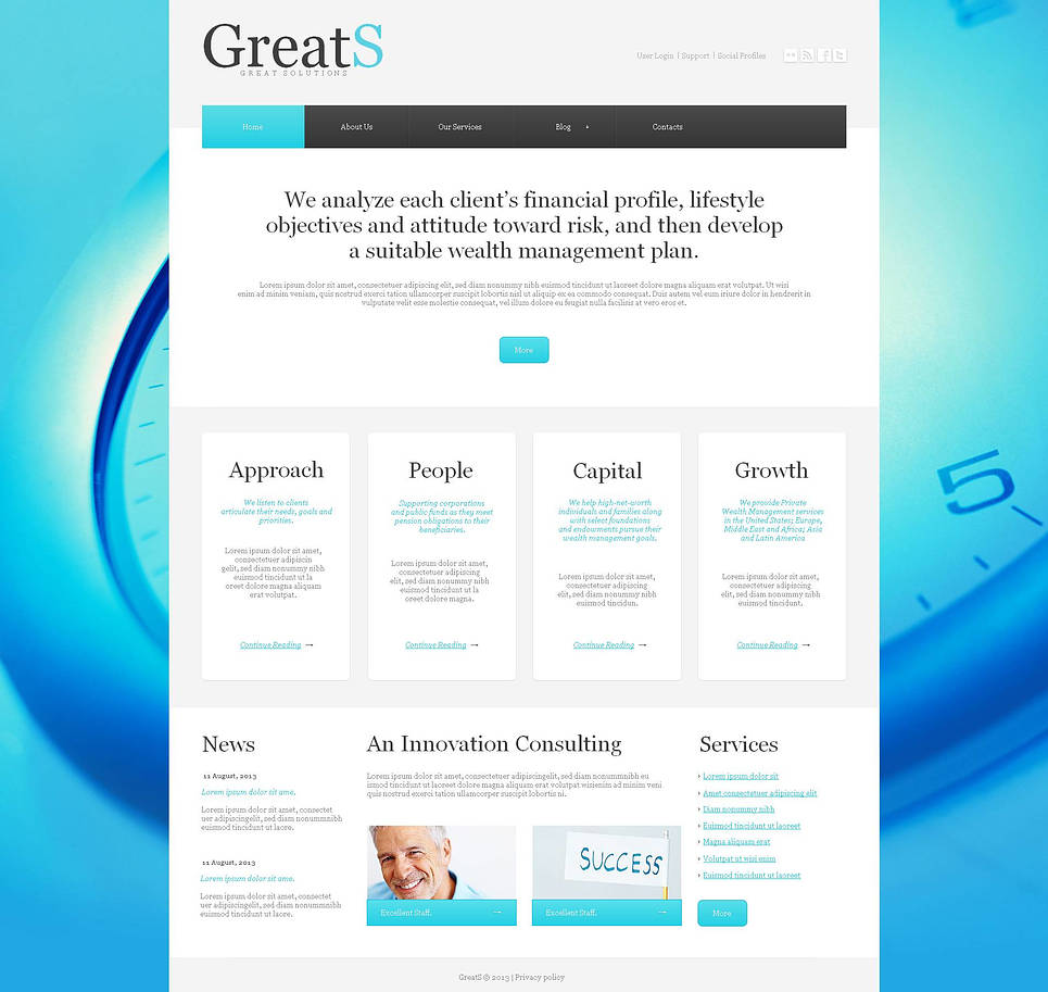 Business Website Template with Blue Background Color - image
