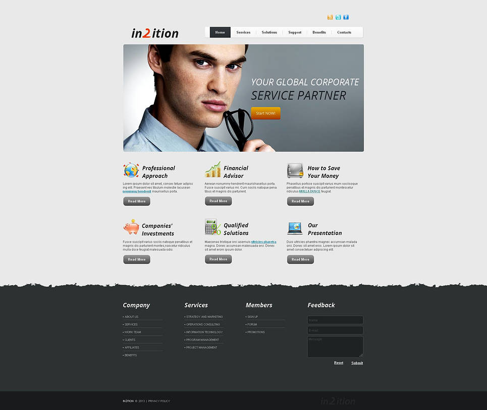 Business Website Template with Creative Footer Design - image
