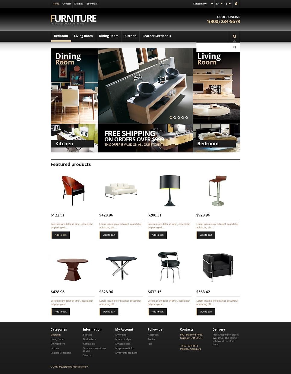 Simple & Modern Responsive Furniture Store PrestaShop Theme