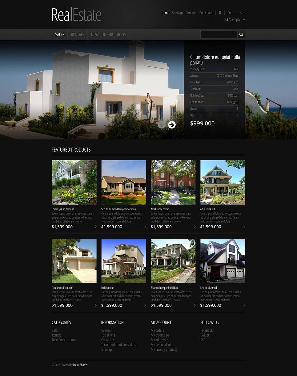 Responsive Real Estate Store PrestaShop Theme