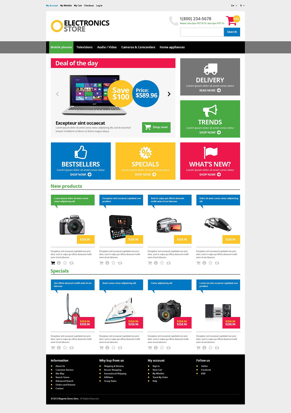 Responsive electronics store magento theme web design for Magento homepage template