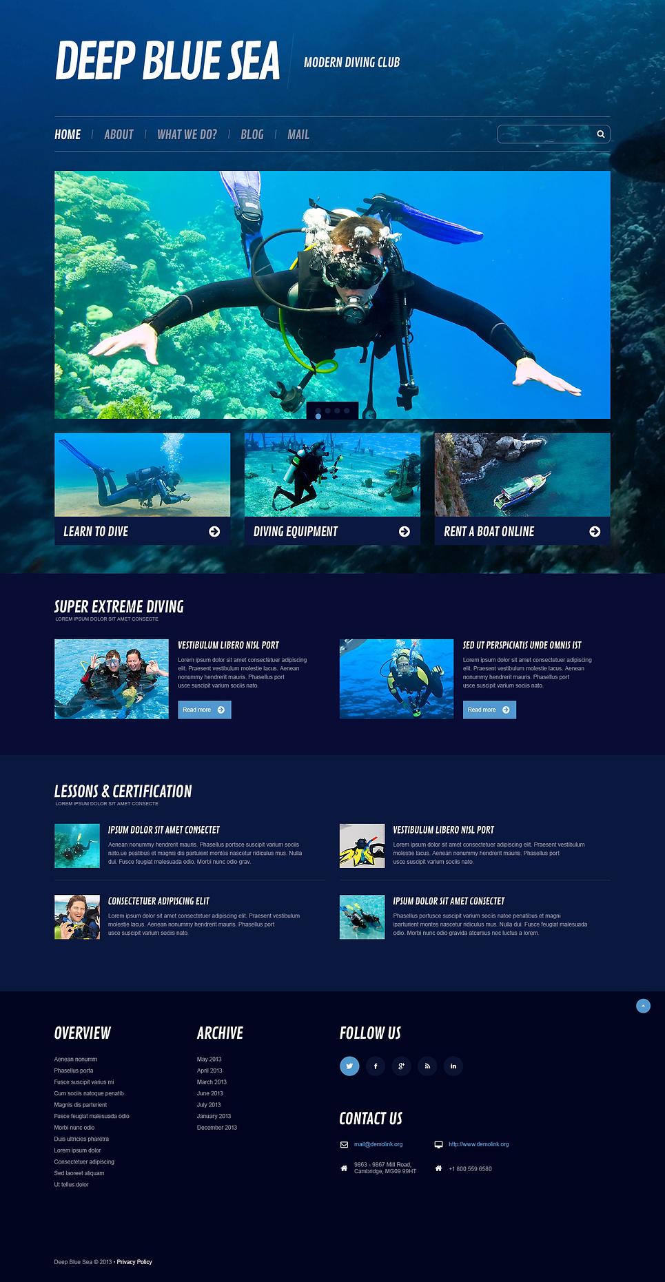diving responsive wordpress theme web design templates website templates download diving. Black Bedroom Furniture Sets. Home Design Ideas