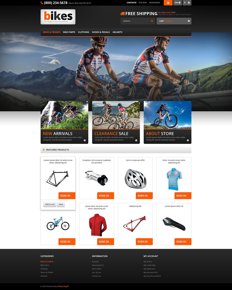 Friendly Responsive Bikes Store PrestaShop Theme