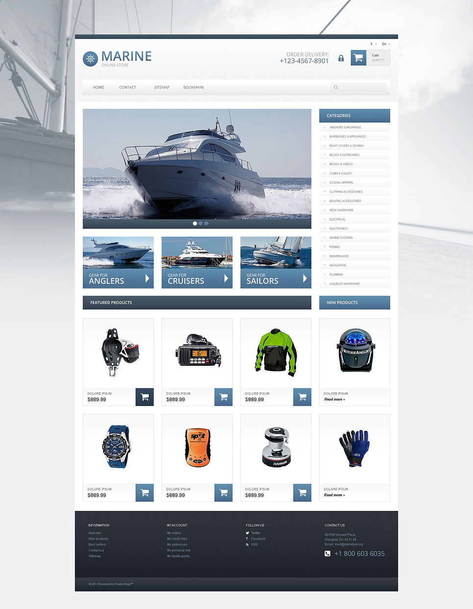 Online Responsive Marine Store PrestaShop Theme